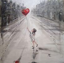 Ölmalerei, Figural, Straße, Engel