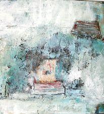 Papiercollage, Kaffee, Marmormehl, Malerei