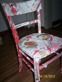 Decoupage bemalung stuhl, Kunsthandwerk