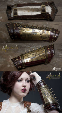 Steampunk, Bracer, Messing, Leder