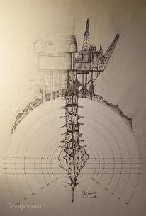 Ölbohrung, Zeichnen, Bedarf, Ausbeutung
