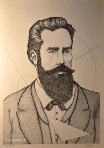 Tuschmalerei, Physiker, Geometrie, Dotwork