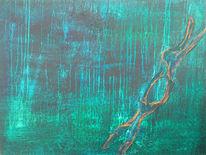 Schwarz, Malerei, Gold, Wasser