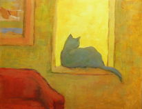 Fenster, Katze gegenlicht, Malerei, Katze