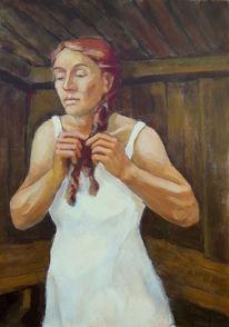 Figural, Portrait, Leinen, Acrylmalerei