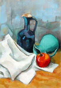 Stillleben, Farben rausch, Apfel, Tuch