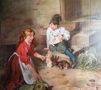Ölmalerei, Stillleben, Tiere, Kaninchen