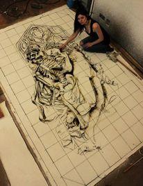 Melancholisch, Skulptur, Frau, Tod