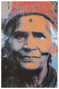 Portrait, Siebdruck, Frau, Nepal