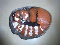 Roter panda, Stein, Tiere, Acrylmalerei