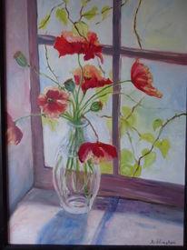Vase, Fenster, Mohn, Stillleben