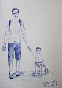 Mann, Kind, Kugelschreiber, Zeichnung