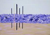 Acrylmalerei, Gold, Handarbeit, Abstrakt