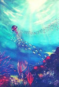 Malerei, Meer, Neon, Fische