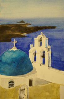 Schatten, Meer, Santorini, Blauweiß