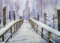 Schnee, Harz, Winter, Aquarell