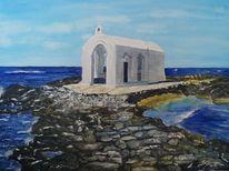 Kreta, Kapelle, Meer, Aquarell