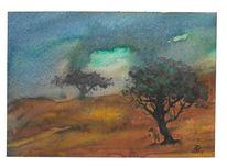 Dunkel, Landschaft, Baum, Aquarell