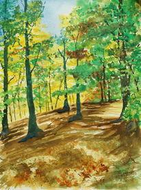 Licht, Wald, Aquarell