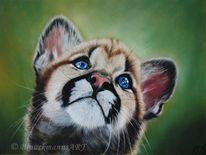 Card, Pastellmalerei, Katze, Tierwelt