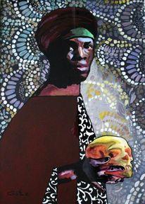 Portrait, Abstrakt, Glas, Ölmalerei