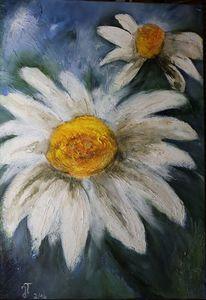 Acrylmalerei, Blumen, Mageriten, Malerei