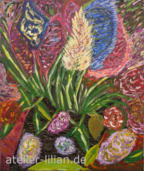 Rot, Fantasie, Blumen, Acrylmalerei