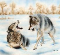 Wolf, Zeichnung, Airbrush, Lasurtechnik