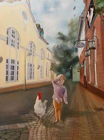 Kind, Ölmalerei, Menschen, Huhn