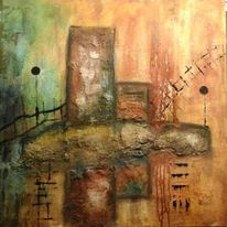 Abstrakt, Tusche, Marmormehl, Malerei