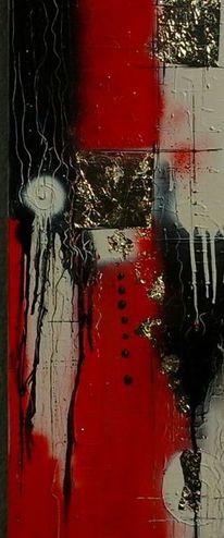Abstrakt, Modern, Weiß, Rot schwarz
