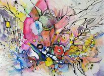 Gekritzel, Blumen, Farben, Mischtechnik