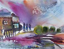Lila, Wolken, Haus, Landschaft