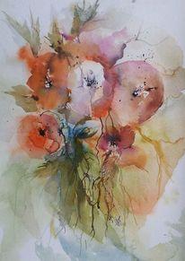 Rot, Blüte, Malerei, Blumen