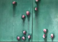 Abstrakt, Seerosen, Acrylmalerei, Malerei