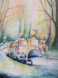 Natur, Brücke, Aquarellmalerei, Landschaft