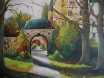 Park, Landschaft, Herbst, Schloss