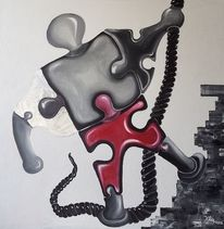 Rot schwarz, Roboter, Seil, Ölmalerei