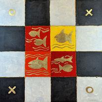 Blattgold, Acrylmalerei, Muster, Fische
