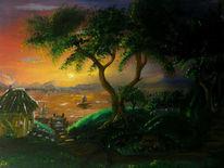 See, Baum, Sonnenuntergang, Bank
