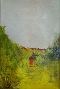 Tür, Lava, Leinen, Ölmalerei