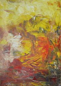 Abstrakt, Gelb, Rot, Leinen