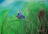 Wasser, Wiese, Malerei, Schmetterling