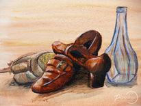 Ölmalerei, Zeitlos, Braun, Schuhe