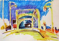 Pastellmalerei, Stadtlandschaft, Malerei