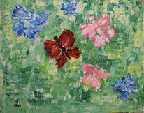 Acrylmalerei, Blau, Wiese, Schmetterling