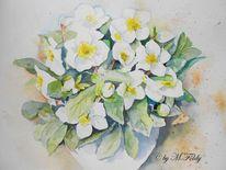 Aquarellmalerei, Stillleben, Christrosen, Pflanzen