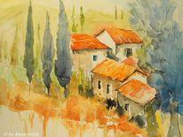 Dorf, Sonne, Malerei, Süden