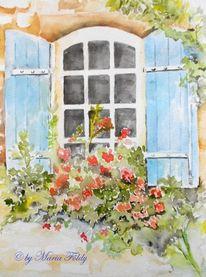 Garten, Fenster, Blumen, Architektur