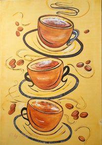 Acrylmalerei, Kaffeetassen, Tasse, Kaffeebohnen
